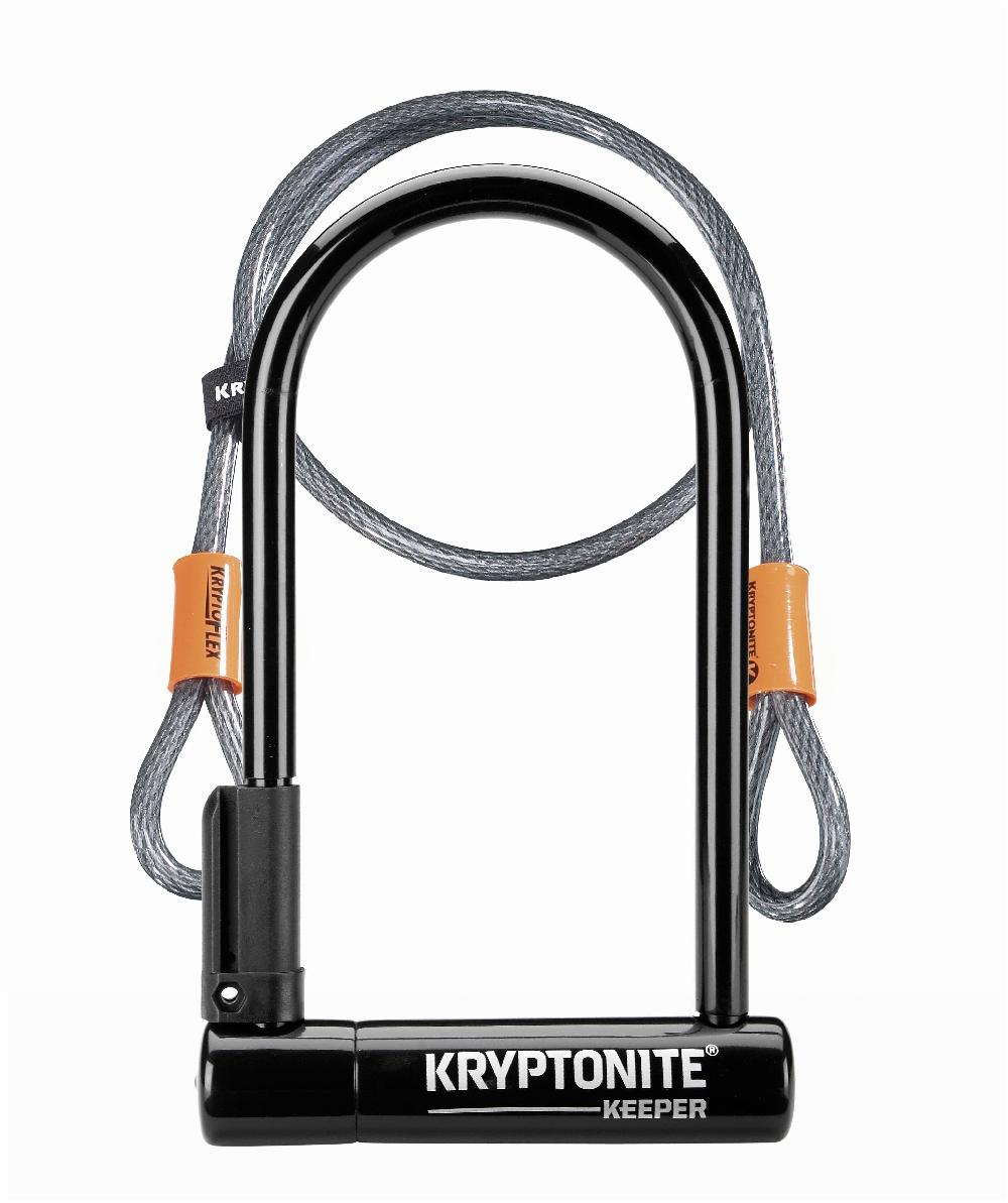 ANTIRROBO U KRYPTONITE - KEEPER STANDARD 12 CON CABLE FLEX (244x102mm) NEGRO